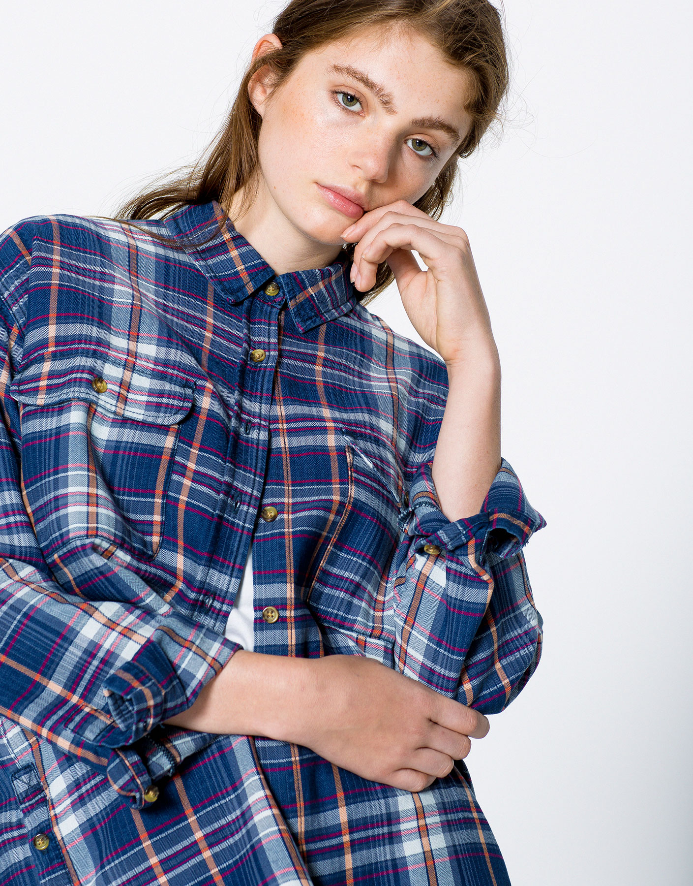 humanlike.co CHECKED DENIM SHIRT by Pull&Bear
