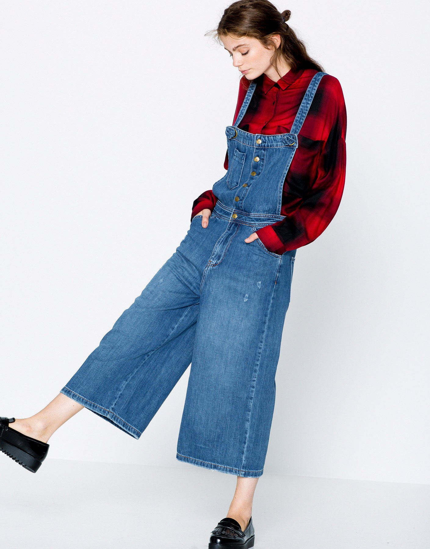 humanlike.co Cropped denim jumpsuit by Pull&Bear