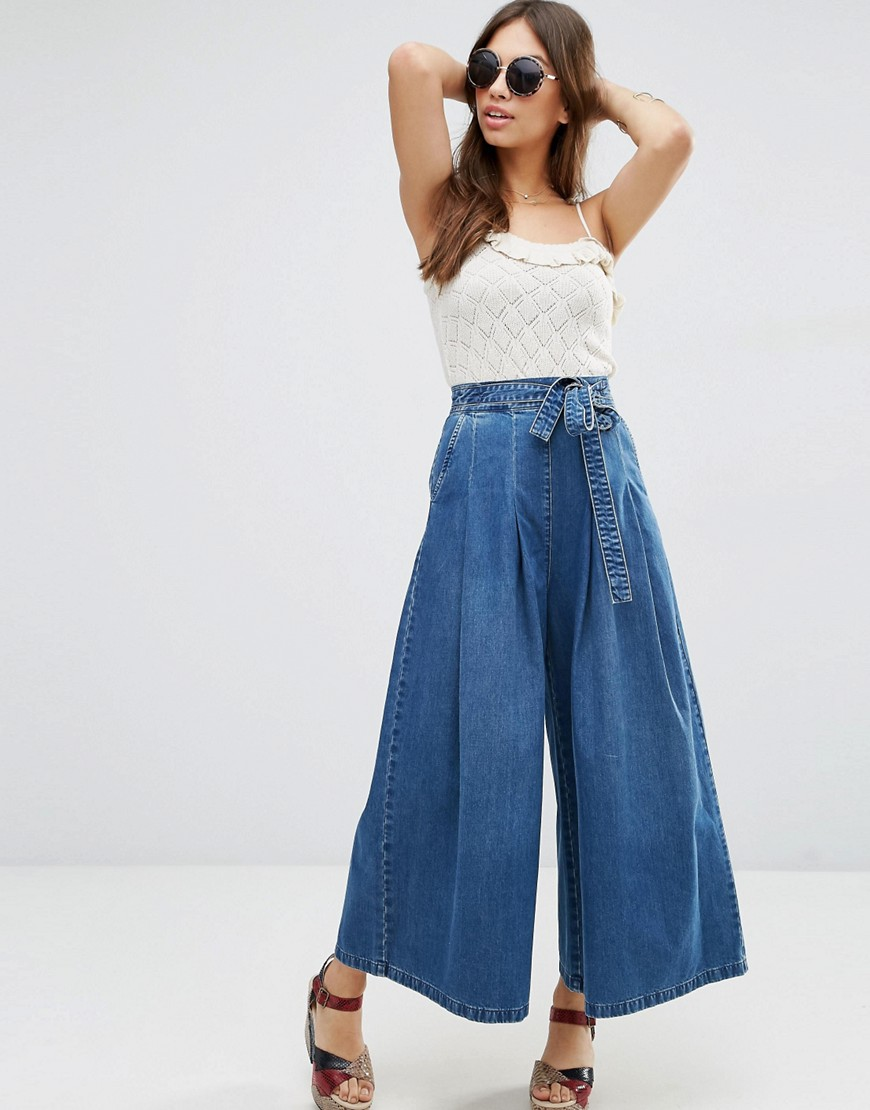 humanlike.co Denim Super Wide leg Jeans with Tie Waist in Mid Wash Blue by ASOS