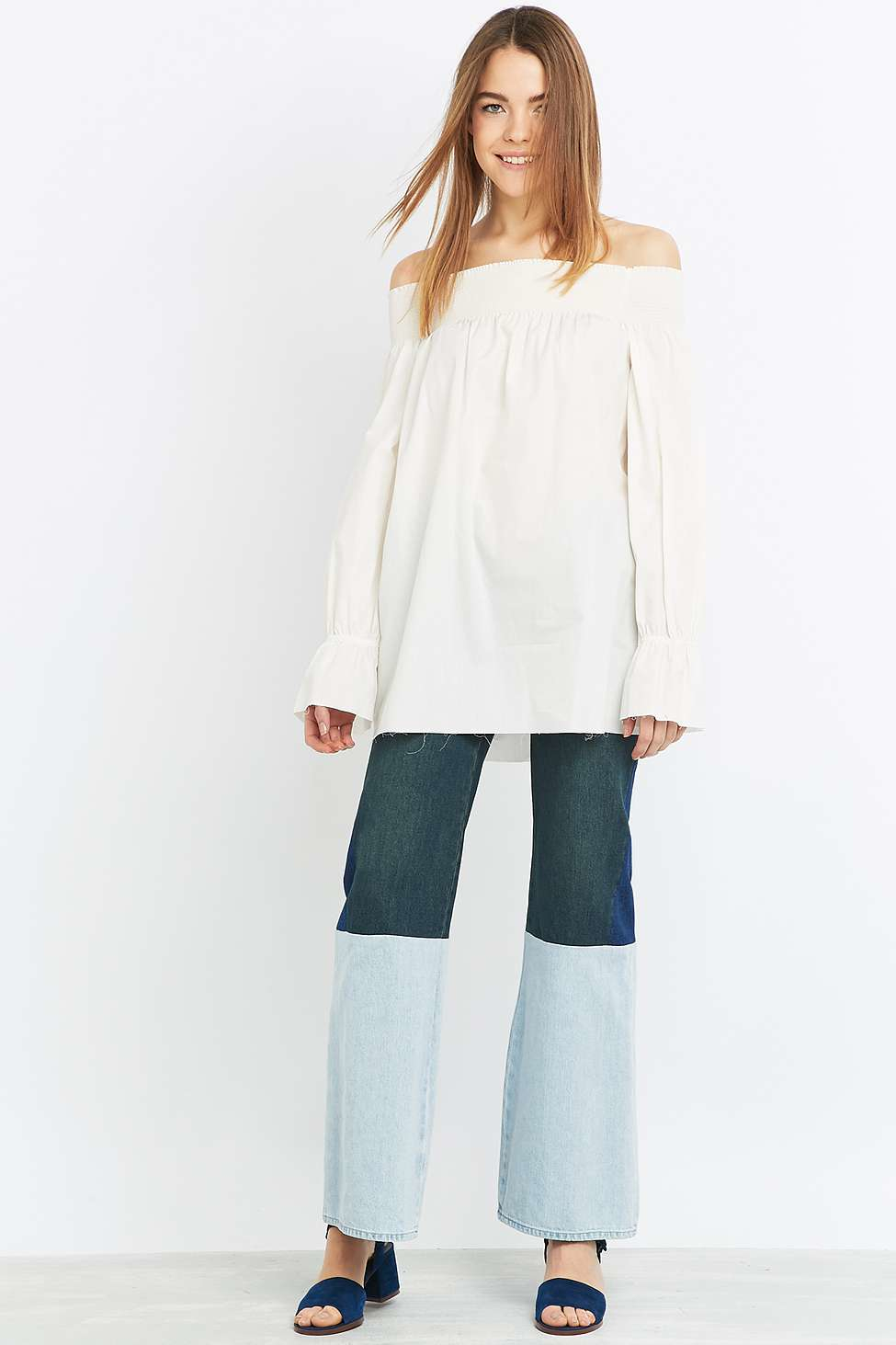 humanlike.co MM6 Three Tone Combo Blue Flared Jeans by Urban Outfitters