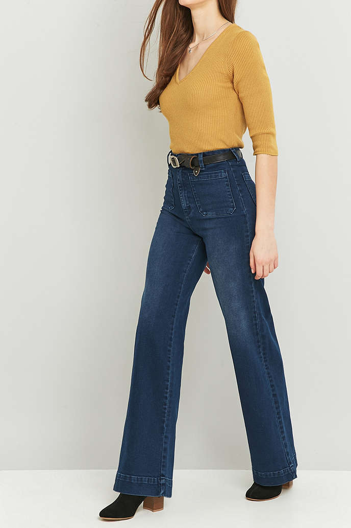 humanlike.co Rolla's Sailor High-Waisted Blue Flared Jeans by Urban Outfitters