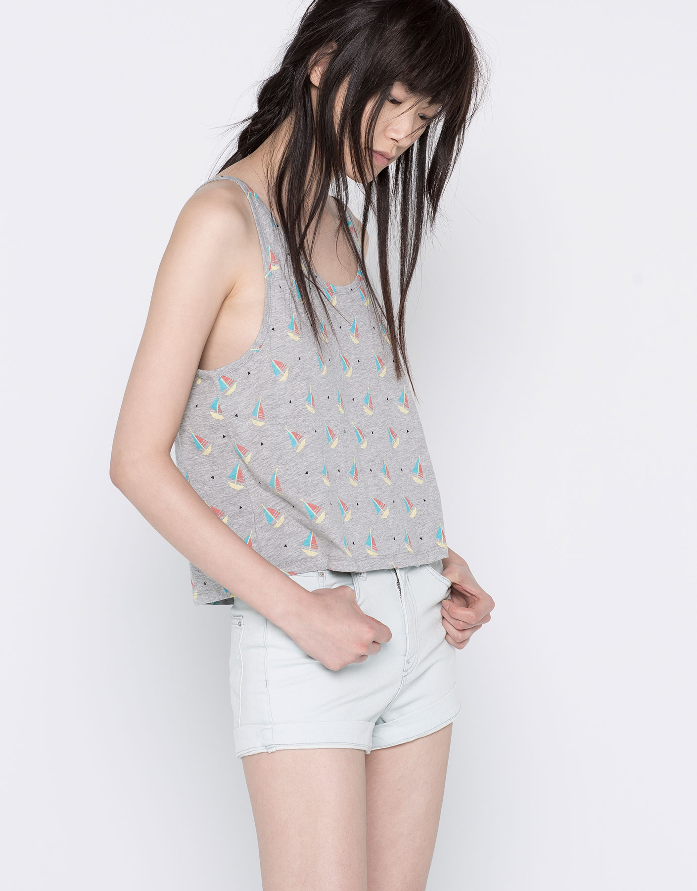humanlike.co STRAPPY TOP WITH ALL OVER PRINT by Pull&Bear